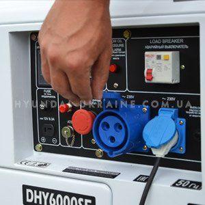 Дизельный генератор Hyundai DHY 6000SE  - СИЛОВАЯ РОЗЕТКА НА 32А Однофазная электр...