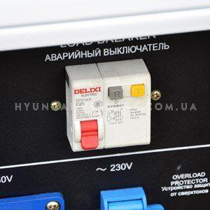 Дизельный генератор Hyundai DHY 8000SE  - АВАРИЙНОЕ ОТКЛЮЧЕНИЕ Большая кнопка крас...