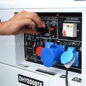 Дизельный генератор Hyundai DHY 8000SE  - ЭЛЕКТРИЧЕСКИЙ СТАРТ Посредством электрос...