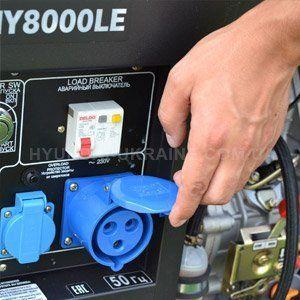 Дизельный генератор Hyundai DHY 8000LE  - СИЛОВАЯ РОЗЕТКА НА 32А Мощная электроста...