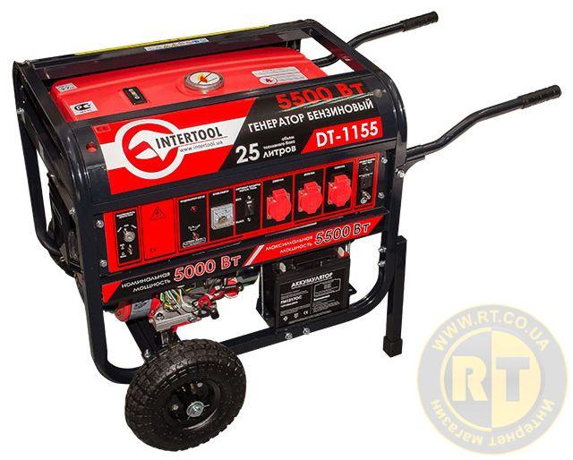 Бензиновый генератор INTERTOOL DT-1155 (мощн. 5.5 кВт., ном. 5 кВт., 13 л.с., 4-х тактный)